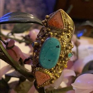 Antique brass red blue turquoise ring